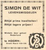 advertentie - Levensmiddelen Simon de Wit