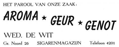 advertentie - WED. DE WIT