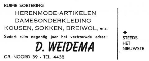 advertentie - D. WEIDEMA